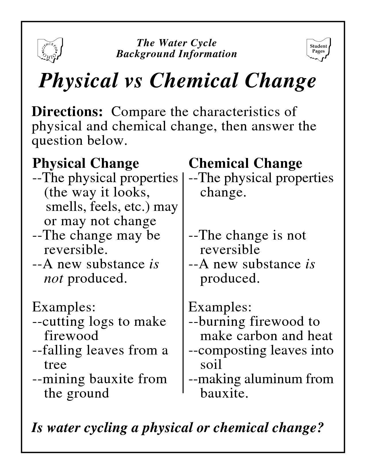 Worksheets Physical And Chemical Changes Worksheet uncategorized worksheets on physical and chemical changes vs change worksheet for school motorobilia
